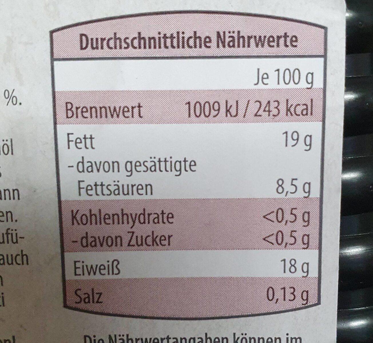 Rinder Hackfleisch - Informations nutritionnelles - de