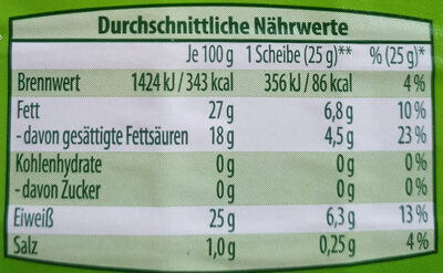 Bio Maasdammer - Nutrition facts