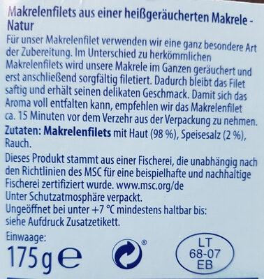 Makrelenfilets, geräuchert - Ingredients