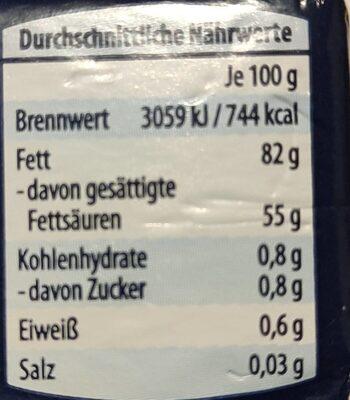 Deutsche Markenbutter - Nährwertangaben - de