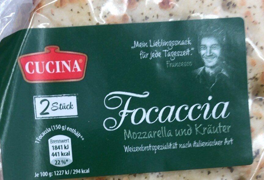 Focaccia Mozzarella und Kräuter - Produkt - de