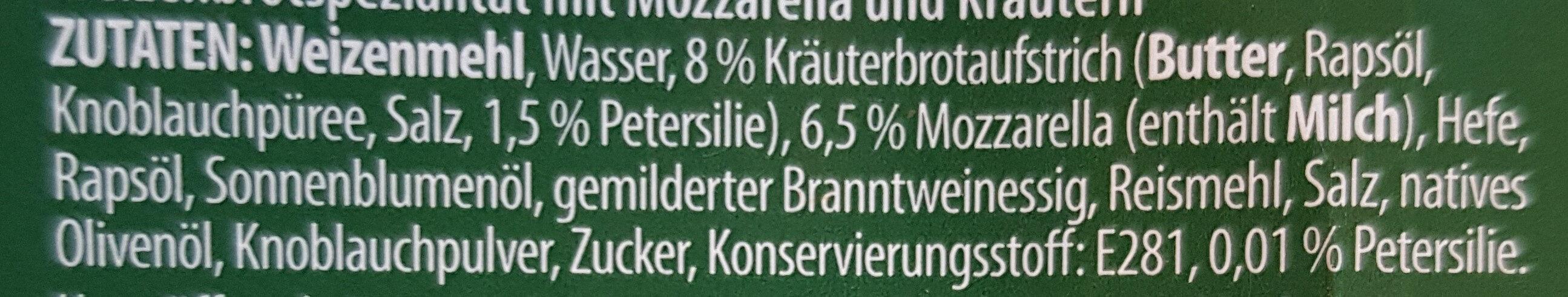 Focaccia Mozzarella und Kräuter - Zutaten - de