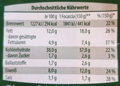 Focaccia Mozzarella und Kräuter - Nährwertangaben - de