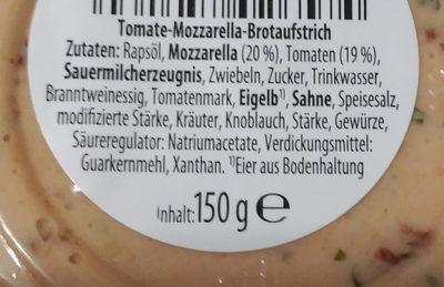 Brotaufstrich Tomate-Mozzarella - Inhaltsstoffe
