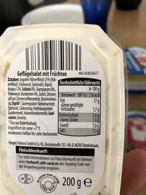 Geflügel Salat - Informations nutritionnelles - de