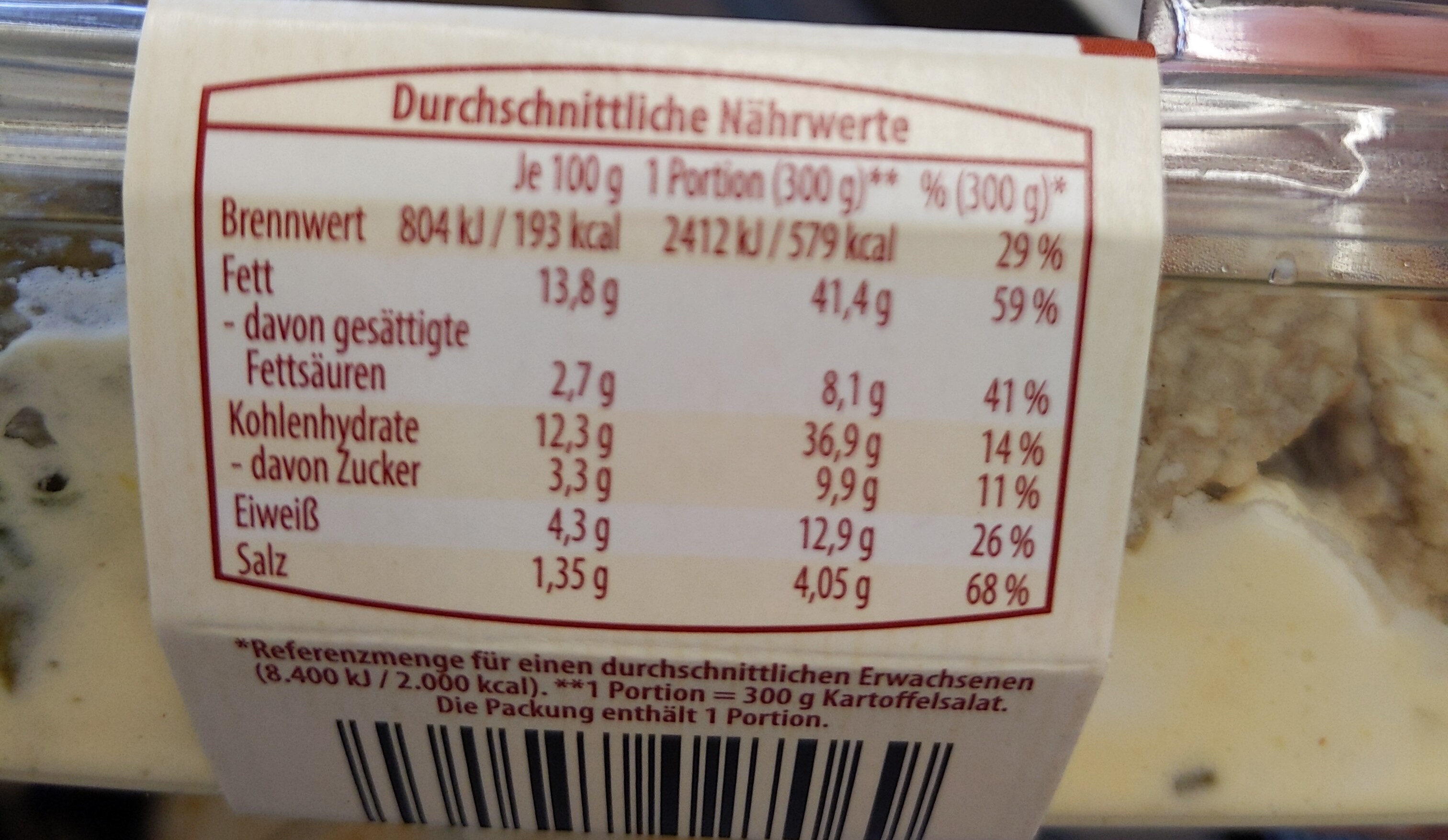 Kartoffelsalat mit Frikadellen, Ei und Gurke - Nährwertangaben - de