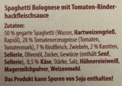 Spaghetti Bolognese mit Tomaten- Rinderhackfleischsauce - Ingrédients
