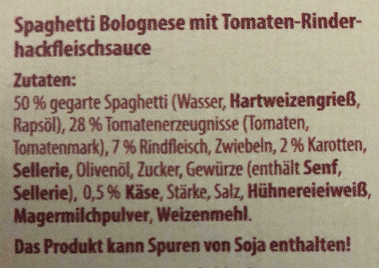 Spaghetti Bolognese mit Tomaten- Rinderhackfleischsauce - Ingrédients - de