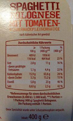 Spaghetti Bolognese mit Tomaten- Rinderhackfleischsauce - Informations nutritionnelles