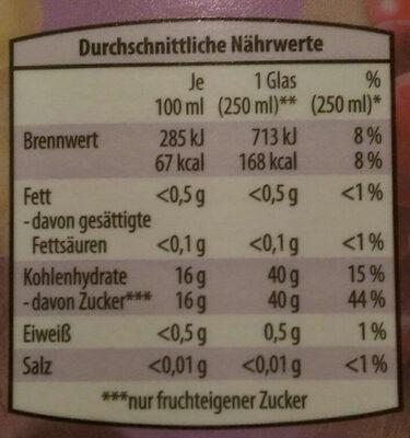 Traubensaft - Voedingswaarden - de