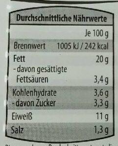 Heringsfilets Senf-Dijon-Creme - Valori nutrizionali - de