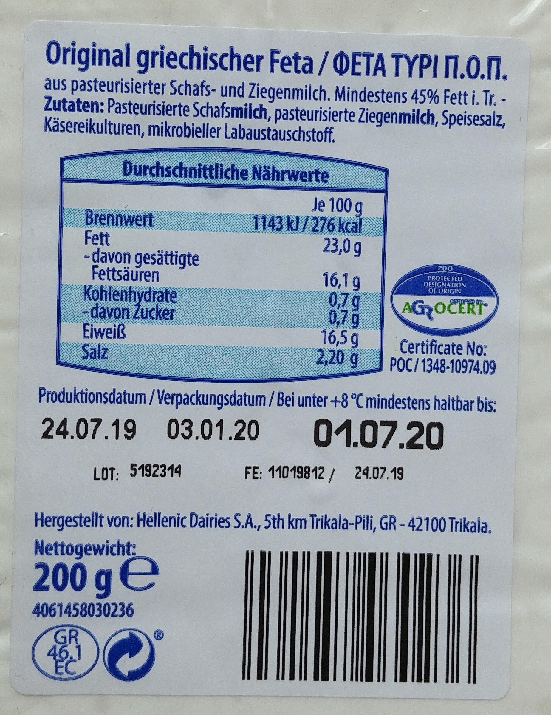 Original Griechischer Feta - Ingrediënten - de
