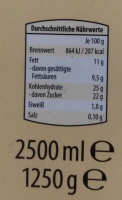 Vanilleeis - Nutrition facts - de