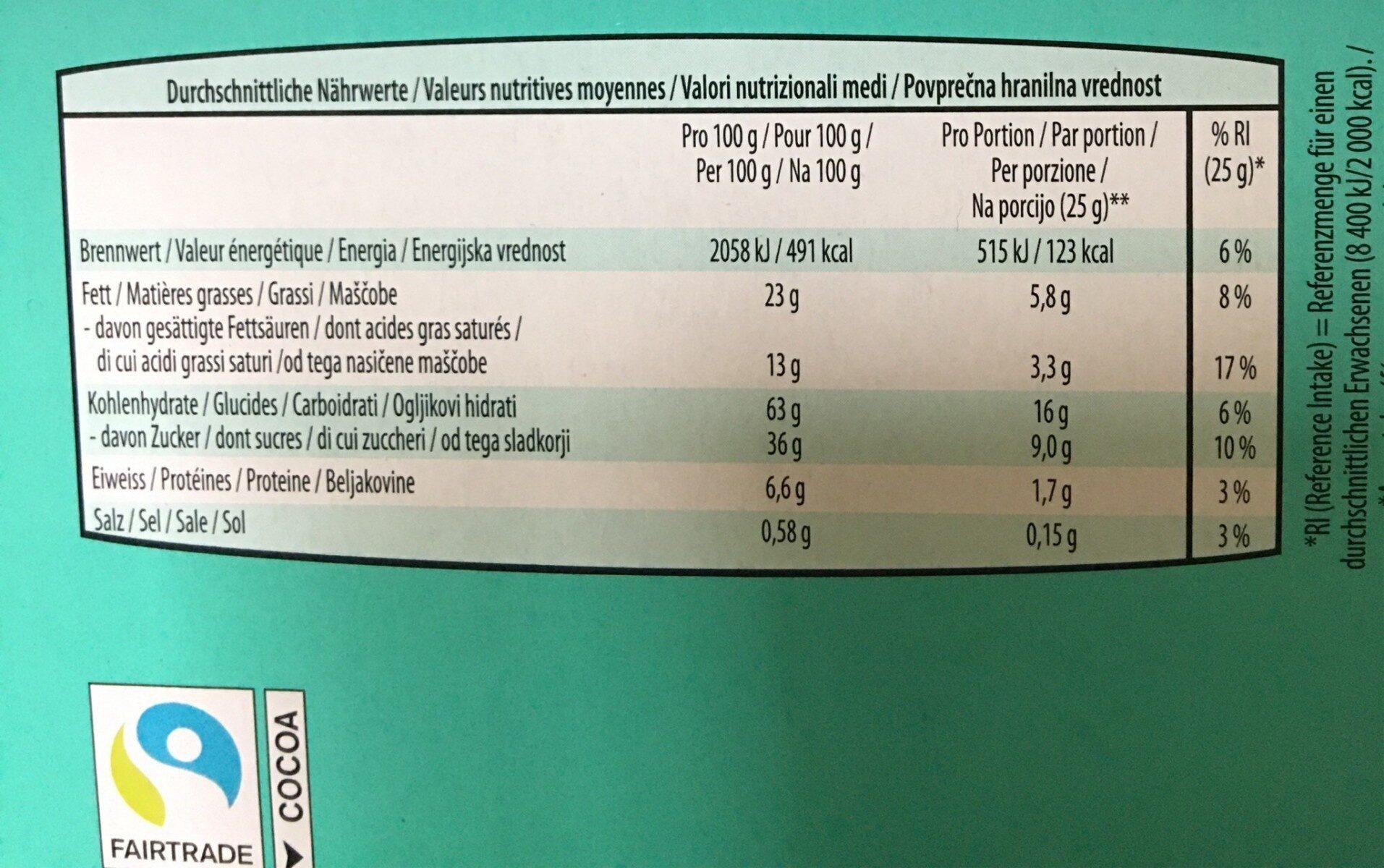 Keks kiste - Informations nutritionnelles - fr