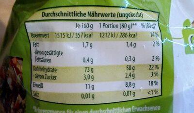 Fusilli - Informations nutritionnelles - de