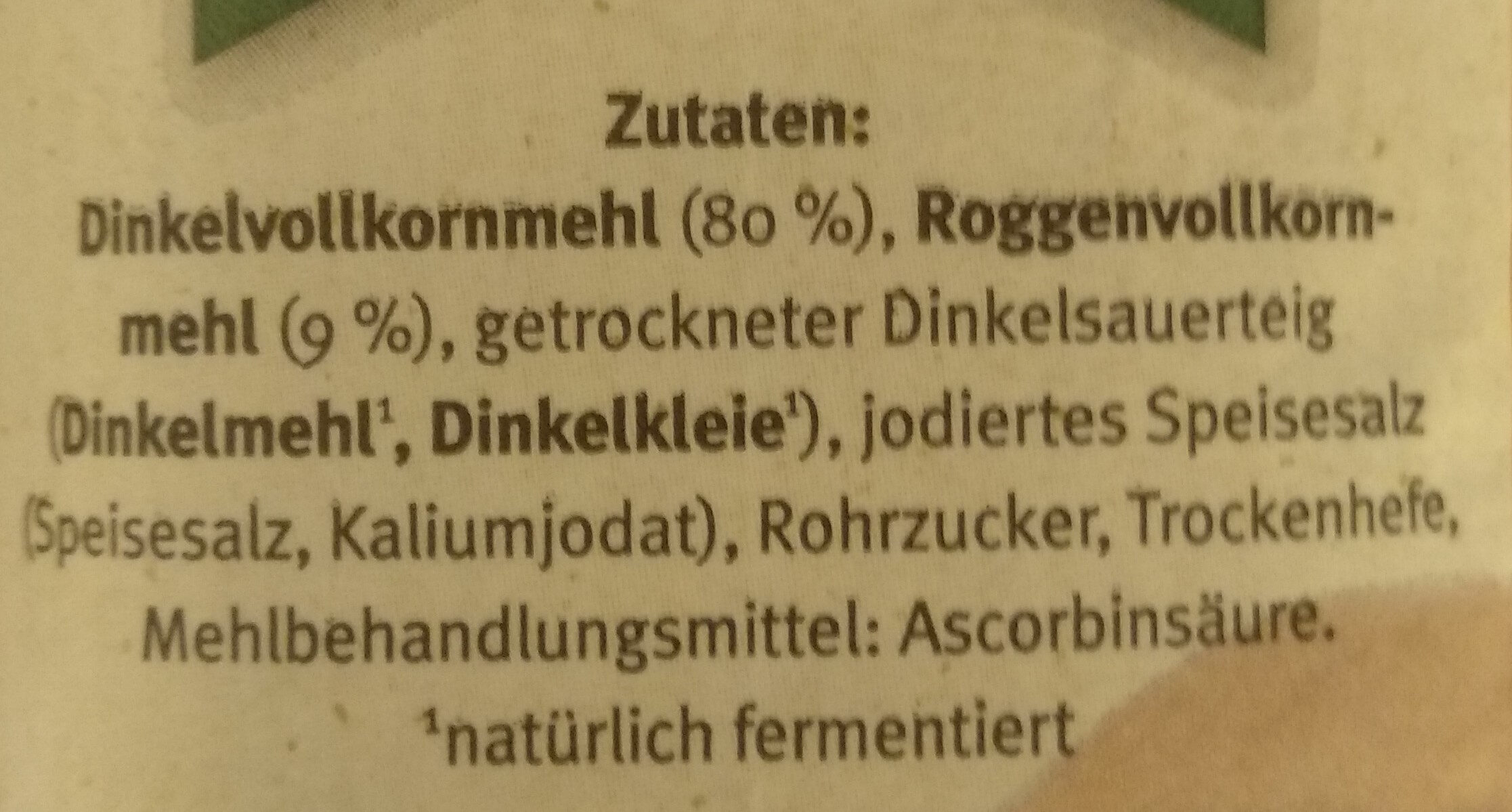 Dinkelvollkornbrot - Ingredients
