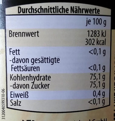 Blütenhonig - Nutrition facts