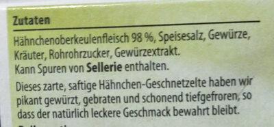 Hähnchen Geschnetzeltes - Ingrédients