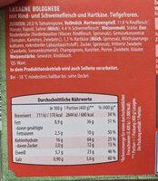 Lasagne Bolognese - Informations nutritionnelles - de