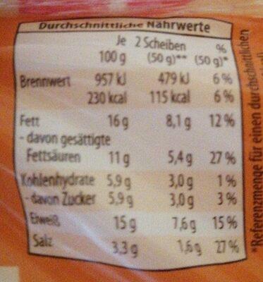 Toast Schmelzscheiben - Nutrition facts - en