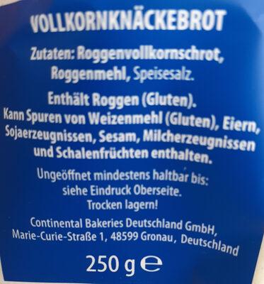 Knäckebrot (Vollkorn) - Ingredients