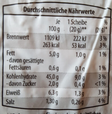 glutenfreies Brot mit Mais und Reis gebacken - Nutrition facts - de