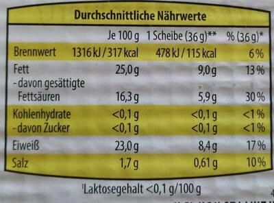 Butterkäse - Voedingswaarden