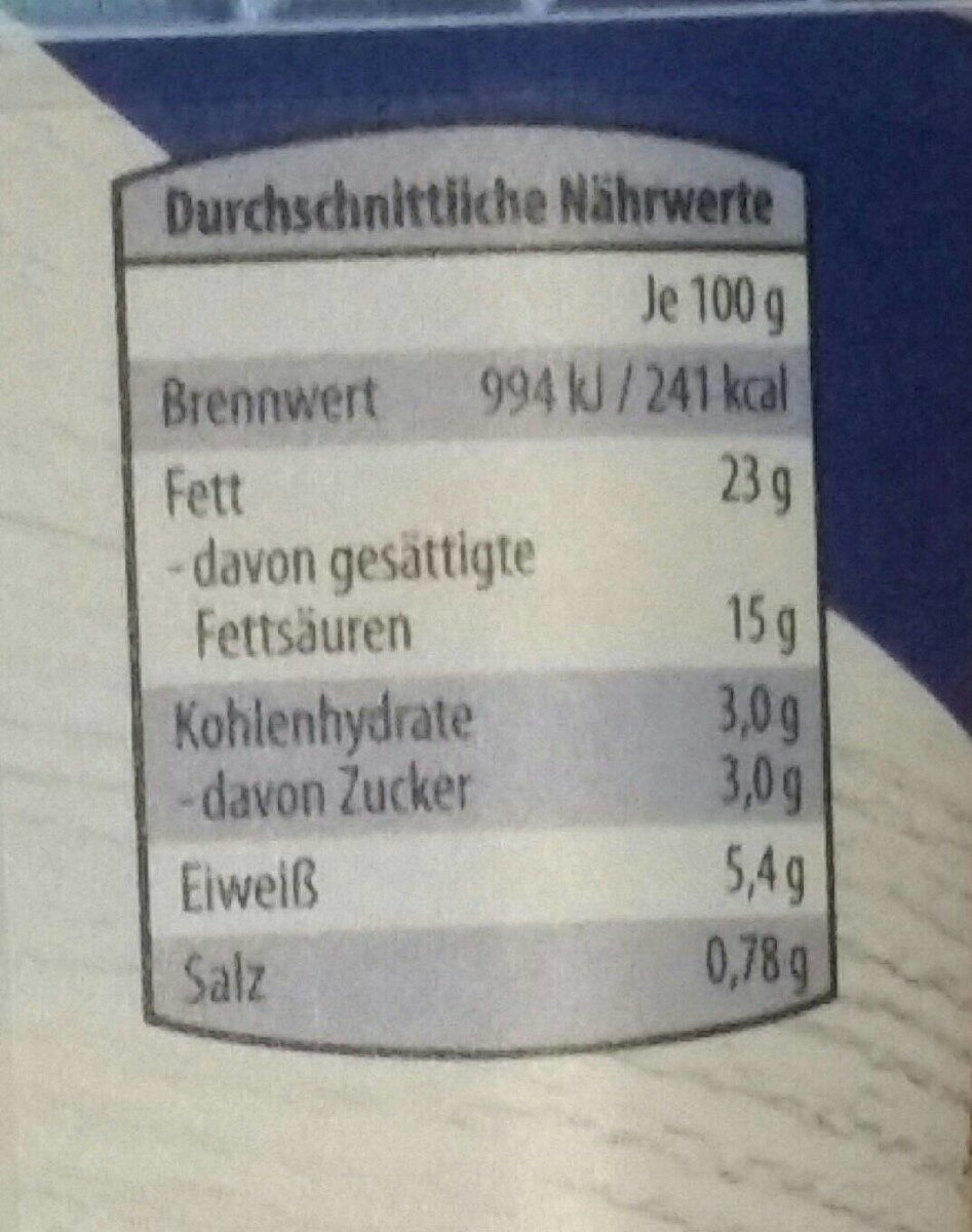 Frischkäse - Nährwertangaben - de