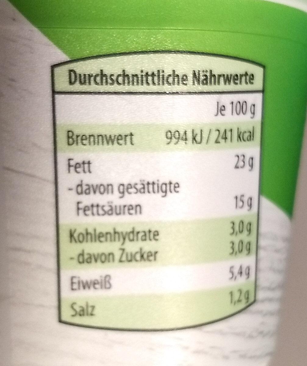 Frischkäse mit feinen Kräutern - Nährwertangaben - de