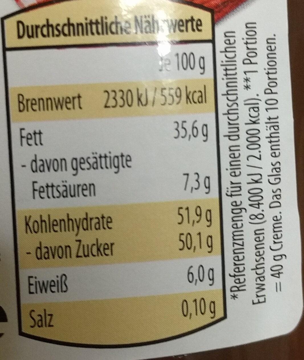 Nutoka noisette nougat crème - Nährwertangaben