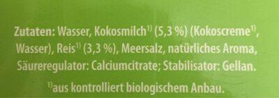 Kokosnuss Drink natur - Zutaten - de