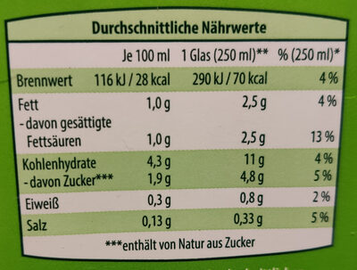 Kokosnuss Drink natur - Nährwertangaben - de