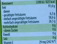 Rapsöl - Nutrition facts - de