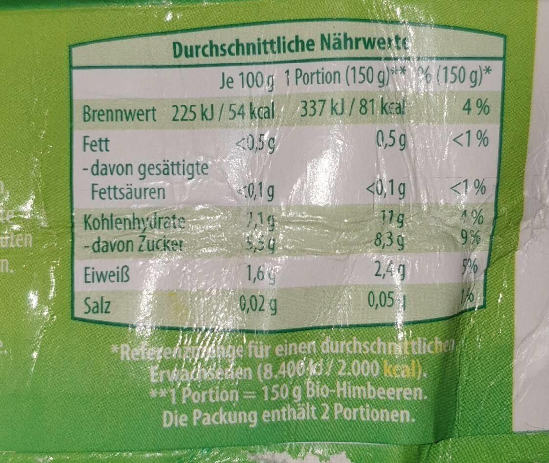 Himbeeren - Nutrition facts - de