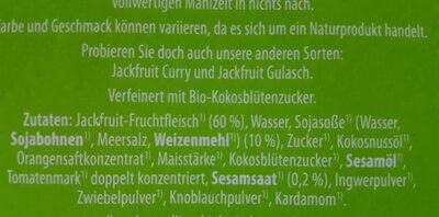 Jackfruit Teriyaki - Ingredients