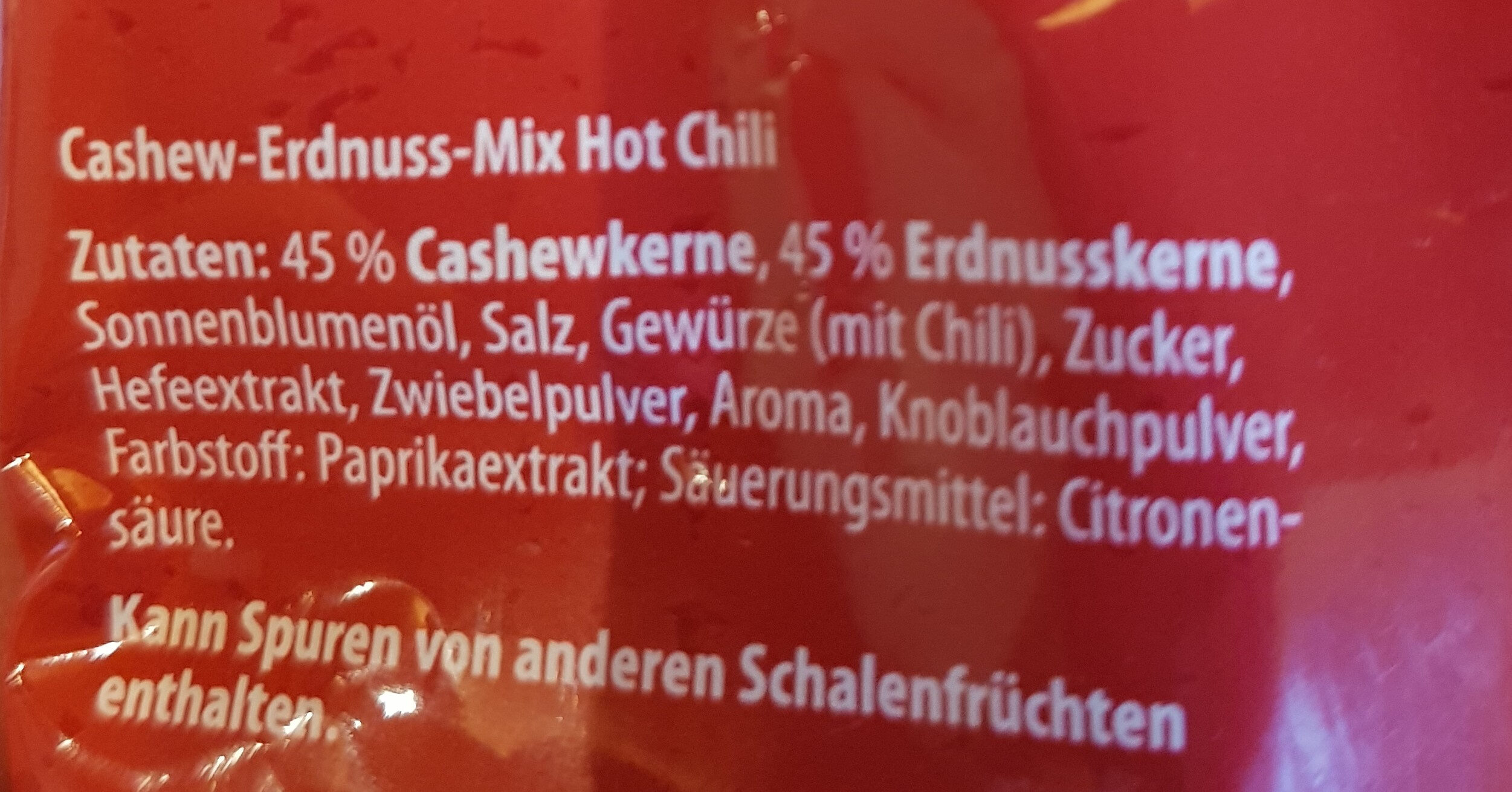 Cashew- Erdnuss- MIX Hot Chili - Ingredients - de