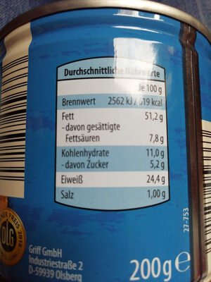 Erdnüsse - Nutrition facts