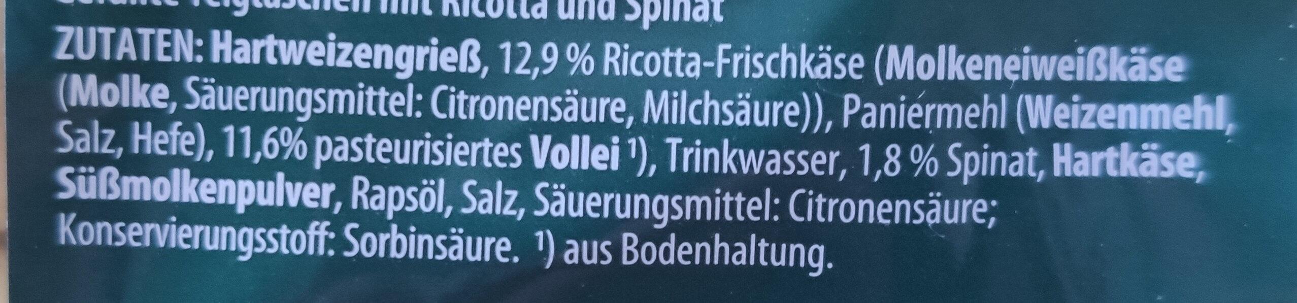Tortelloni Ricotta Spinat - Zutaten - de