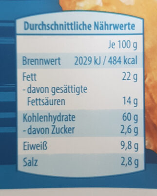 Gebäckstangen Meersalz - Nutrition facts