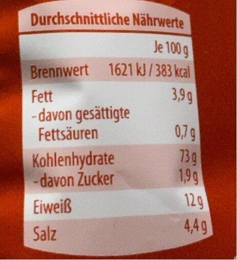 Salzstangen - Nährwertangaben - de