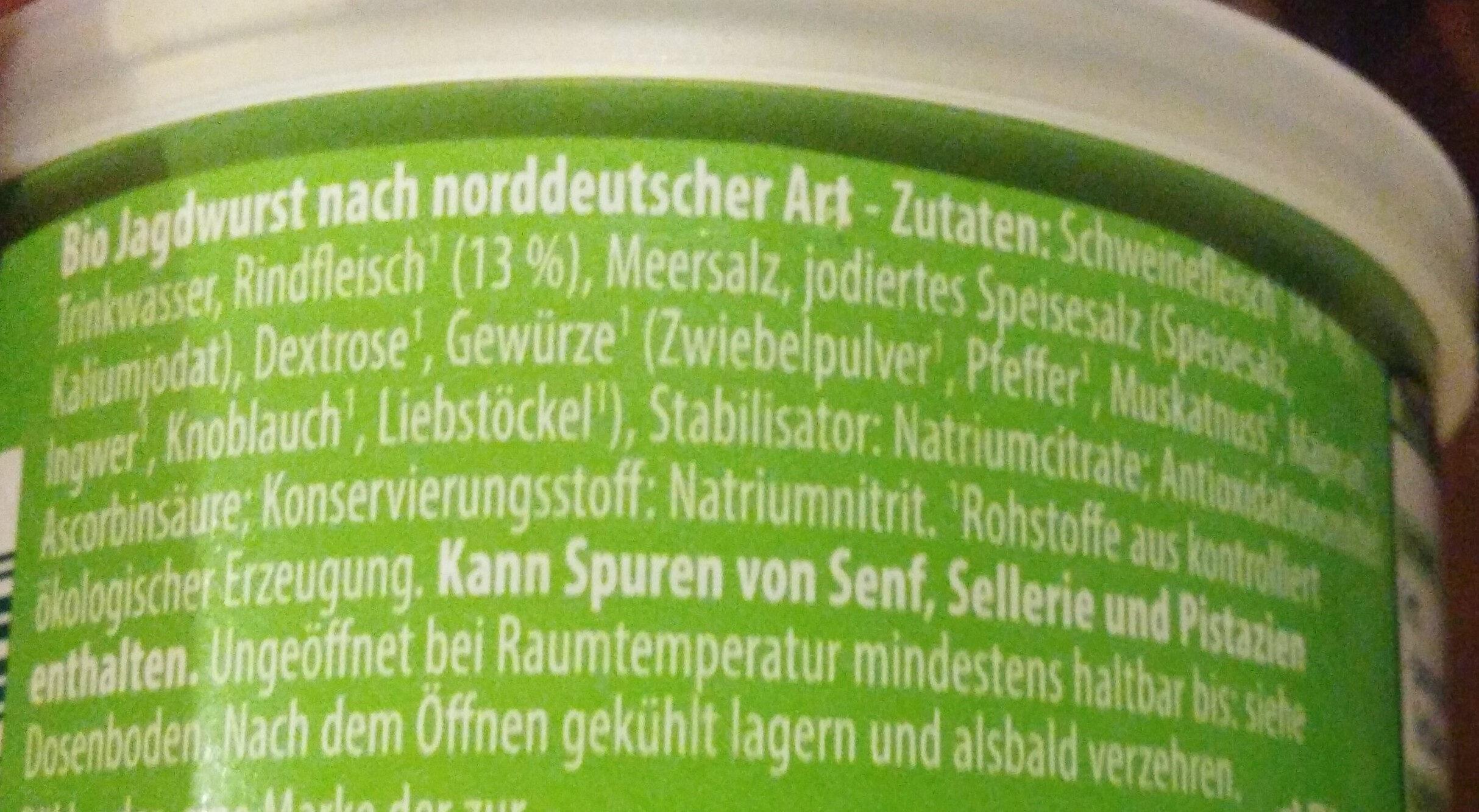 Jagdwurst nach norddeutscher Art - Ingredients - de