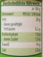 Jagdwurst nach norddeutscher Art - Nutrition facts - de