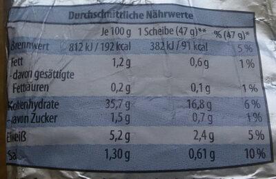 Rheinisches Vollkornbrot ohne Kruste Roggenvollkornbrot - Nutrition facts