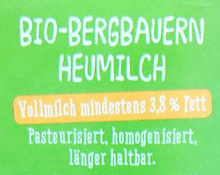 Frische Bergbauern Heumilch - Ingredients - de