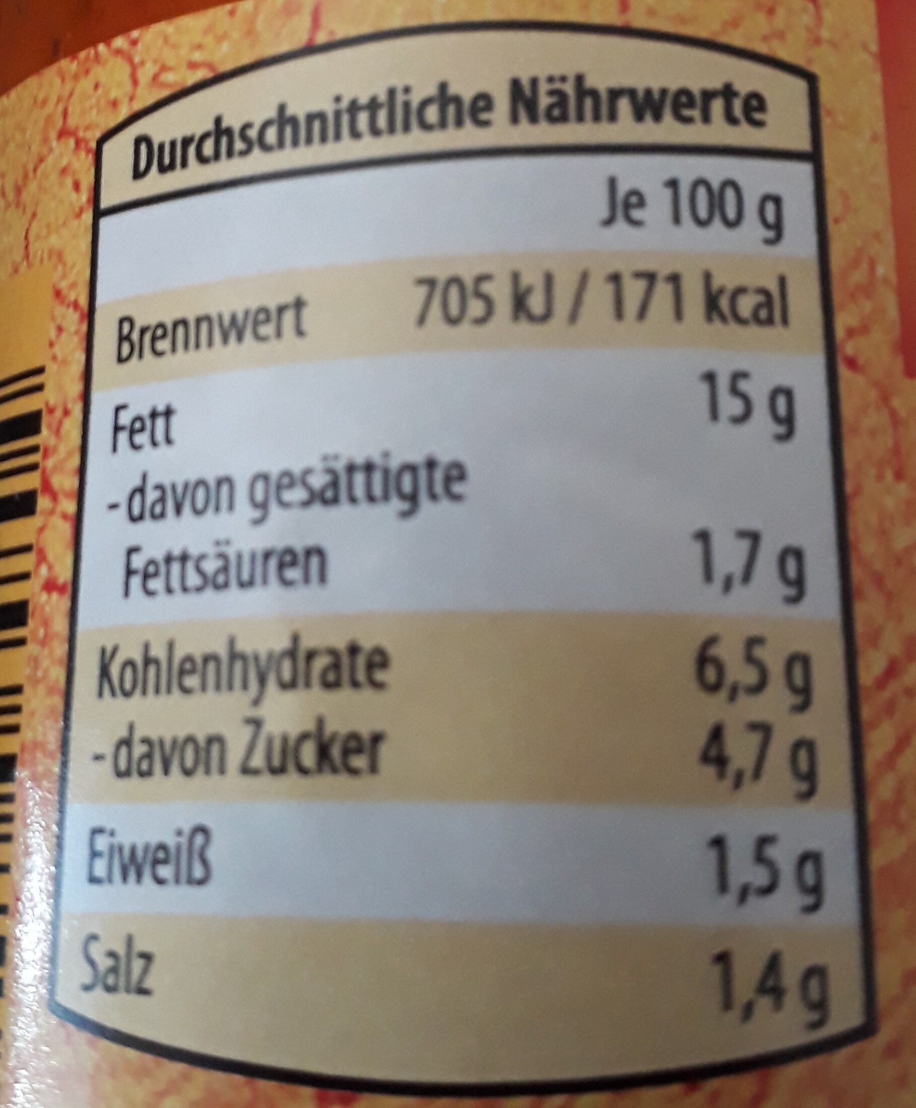 Gemüseaufstrich aus gerösteter Paprika - Nutrition facts - de
