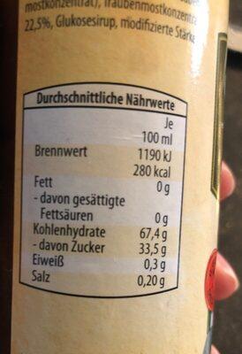 Creme balsamique - Informations nutritionnelles - de