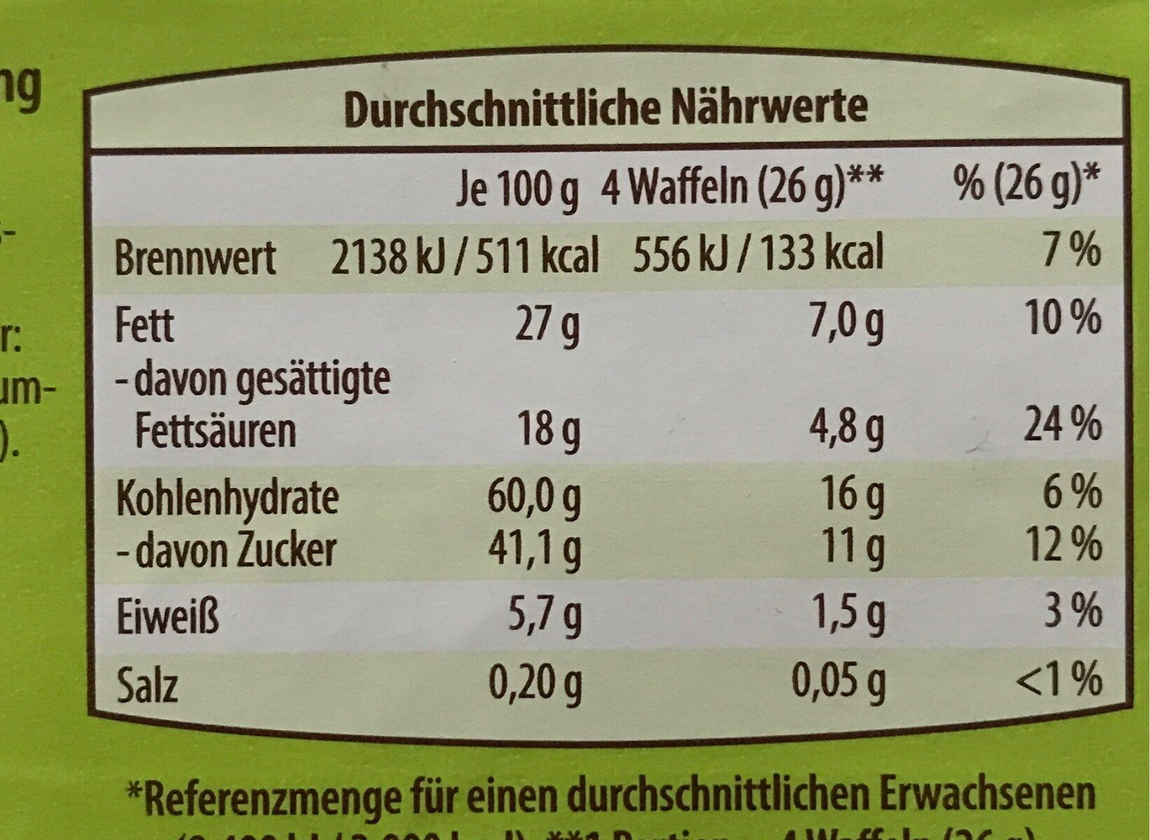 Waffel-Schnitten - Informations nutritionnelles - de