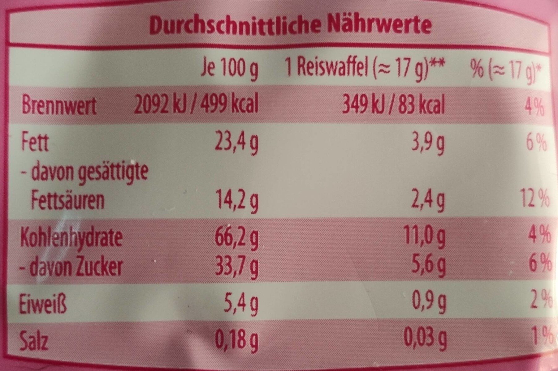 Reis-Waffeln - Informations nutritionnelles - fr