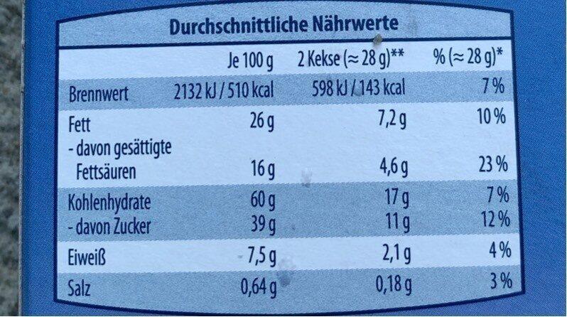 Schoko Butter-keks Vollmilch - Informations nutritionnelles - en