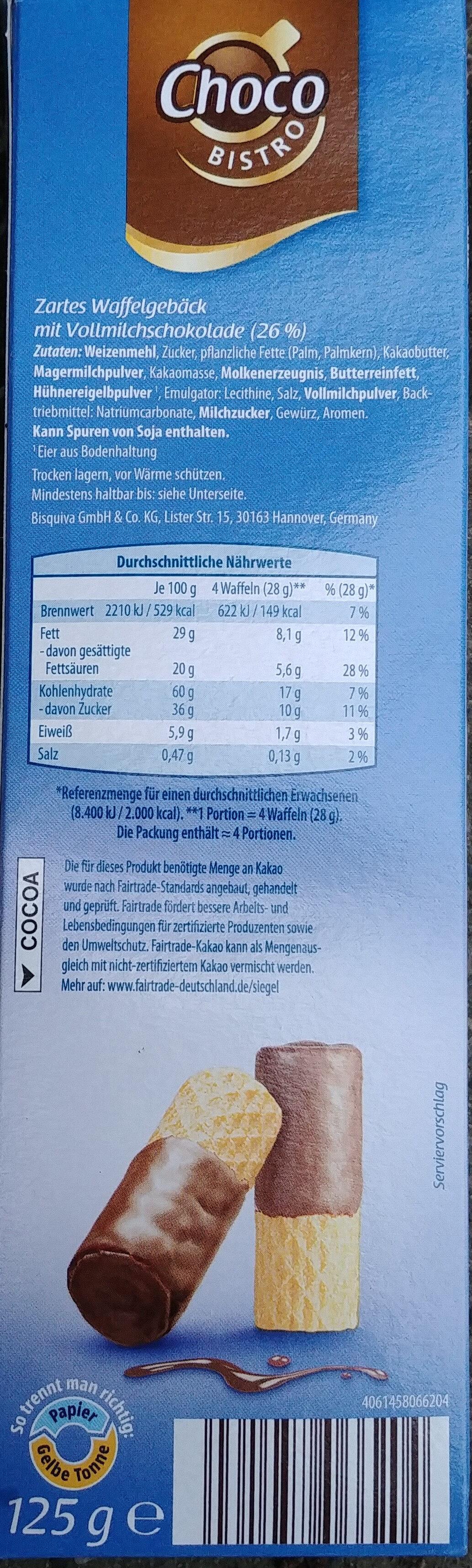 Schoko Waffelröllchen Vollmilch - Ingrédients - de